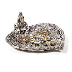 Porte-encens rond en forme de feuille avec Ganesh, pour brûler des cones d'encens.