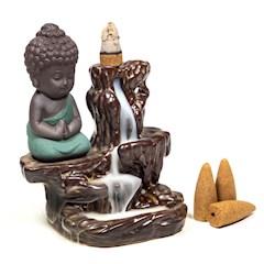 Brûleur d'encens à refoulement avec Bouddha. La fumée ne monte pas, mais descend, comme en cascade. Crée un bel effet serein.